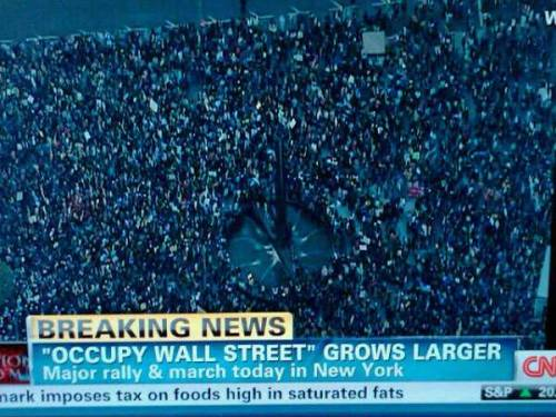 socialismartnature:  CNN sky photo of labor-student march with #OccupyWallStreet today — MASSIVE!  Hell yeah