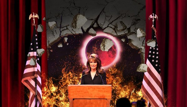 "The Onion: Latest Sarah Palin Speech Opens Sixth Seal  IDAHO FALLS, ID—Speaking unto an audience of anti-immigration  advocates, global-warming deniers, and members of the Tea Party Nation,  former Alaska governor and vice presidential candidate Sarah Palin gave  forth utterances Monday that reportedly opened the sixth seal of the  Book of the Apocalypse. ""Wow, it's good to be here, just shootin' the breeze with a bunch of  real, hardworking Americans who love their freedom,"" said Palin, her  words echoing across the Idaho Falls Civic Auditorium as mighty tremors  caused great unrest beneath the land and the sea. ""So are the little  guys like you and me gonna fight these Washington insiders with their  big government agenda? You betcha we are!""And lo, there was then a great earthquake; and the sun became black as  sackcloth of hair; and the moon became as blood; and ""gosh"" was spoken  repeatedly; and the stars of heaven fell upon the earth, even as a fig  tree casteth her untimely figs, when she is shaken by a mighty wind.  More of the apocalyptic account can be read here"