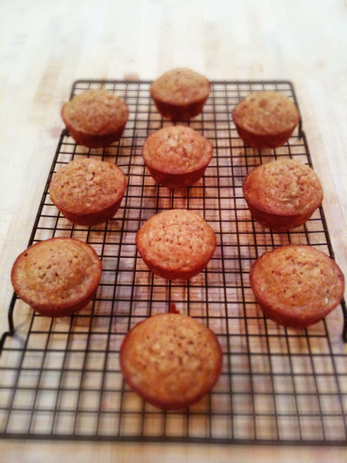 A tiny segment of that giant cucuzza squash turned into these cucuzza muffins for supper.