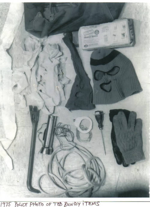Items found in Ted Bundy's 1968 Volkswagen Beetle after a 1975 arrest.
