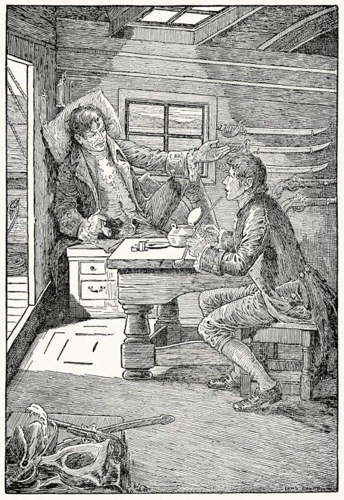 oldbookillustrations:  Allan and I smoked a pipe or two of the captain's fine tobacco. Louis Rhead, from Kidnapped, by  Robert Louis Stevenson, New York, 1921. (Source: archive.org)