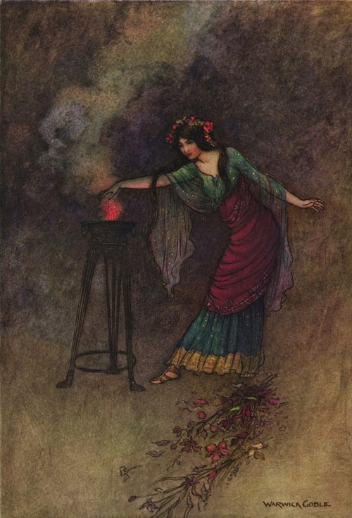 tangledandfar:  Warwick Goble - Medea  from the 1912 edition of The Complete Poetical Works of Geoffrey Chaucer