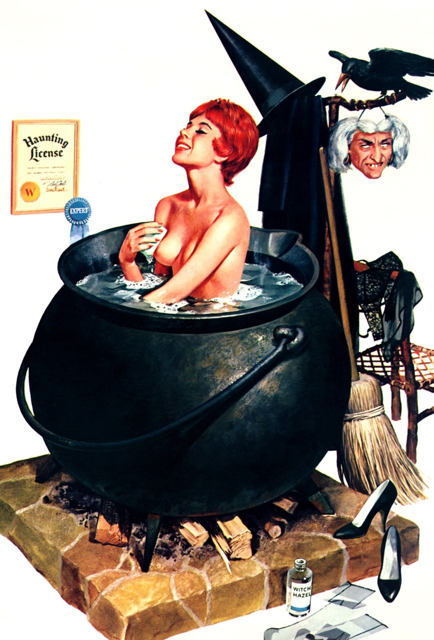 "vintagegal:  ""Bathing Witch"" by Ren Wicks 1964"