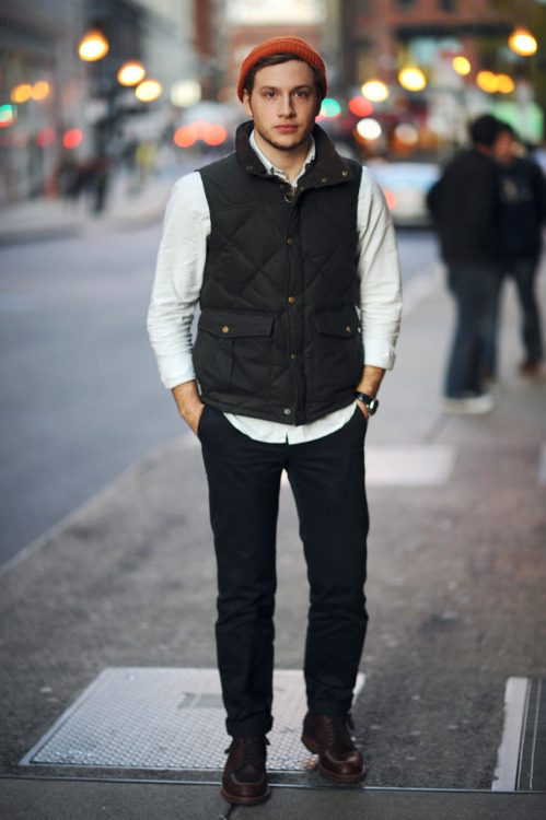 evantetreault:  WIWT. - Gitman oxford - Barbour vest - Wings & Horns chinos - Alden boots - found beanie  Handsome man of the day.