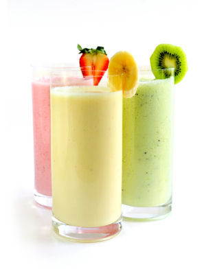 justeatyourveggies:  Slimtastic Smoothies: 20 nutritious and delicious smoothie recipes Banana: Blend 2 bananas with 1/2 cup fat-free Greek yogurt, 1/2 cup skim milk, 2 teaspoons honey, 1/8 teaspoon cinnamon, and 1 cup ice. Strawberry Shortcake: blend cups strawberries, 1 cup crumbled pound cake, 1-1/2 cups skim milk, 1-1/2 cups ice, and splenda or stevia no calorie sweetener to taste. Raspberry Orange:Blend 1 cup orange juice, 1 cup raspberries, 1/2 cup plain yogurt, 1 cup of ice and splenda or stevia no calorie sweetener to taste. Honeydew-Almond: Blend 2 cups chopped honeydew melon, 1 cup almond milk, 1 cup ice, and honey to taste. Strawberry-Kiwi: Blend 1 cup strawberries, 2 peeled kiwis, 2 tablespoons sugar and 2 cups ice. Cherry-Vanilla: Blend 1 1/2 cups frozen pitted cherries, 1 1/4 cups milk, 3 tablespoons sugar, 1/2 teaspoon vanilla extract, 1/4 teaspoon almond extract, a pinch of salt and 1 cup ice. Grape: Blend 2 cups seedless red grapes with 1 cup concord grape juice and 1 1/2 cups ice. Blueberry-Banana: Blend 1 banana, 1 cup blueberries, 1/2 cup unsweetened coconut milk, 1 tablespoon each honey and lime juice, 1/4 teaspoon almond extract and 1 cup ice. Creamsicle: Blend 3/4 cup frozen orange or orange-tangerine concentrate with 1/2 cup cold water and 1 cup each vanilla ice cream and ice. Spiced Pumpkin: Blend 1/2 cup each pumpkin puree and silken tofu, 3 1/2 tablespoons brown sugar, 1 cup milk, 1/2 teaspoon pumpkin pie spice, a pinch of salt and 1 cup ice. Black Raspberry–Vanilla: Blend 1 pint blackberries, 1/2 cup raspberries, 1 cup vanilla yogurt and 1 tablespoon honey. Banana PB&J: Blend 1 frozen banana with 1 cup soy milk, 1/4 cup each creamy peanut butter and wheat germ, and 2 tablespoons seedless strawberry or raspberry jelly. Vietnamese Coffee: Blend 1/2 cup chilled espresso or strong coffee, 1/4 cup sweetened condensed milk and 1 1/2 cups ice. Top with chocolate shavings and/or chocolate syrup. Pineapple-Mango: Blend 1 cup each chopped pineapple and mango, 1 cup coconut water, a dash of ground allspice and 1 cup ice. Sprinkle with toasted coconut. Chocolate-Banana: Blend 1 banana, 1 cup chocolate ice cream, 1/2 cup milk, a pinch of salt and 1/2 cup ice. Peanut Butter–Apple: Blend 1 chopped peeled apple, 3 tablespoons creamy peanut butter, 2 tablespoons flax seeds, 1 1/2 cups each soy milk and ice, and honey to taste. Veggie: Blend 1 1/4 cups tomato juice, 1/4 cup carrot juice, 1/2 peeled cucumber, 1/2 celery stalk, 1/4 cup each parsley and spinach, and 1/2 cup ice. Lemon–Poppy Seed: Blend 2 teaspoons poppy seeds, the zest and juice of 1/2 lemon, 1 cup plain yogurt, 1/3 cup sugar and 1/2 cup each milk and ice. Strawberry-Maple: Blend 2 cups strawberries, 1 1/2 cups milk, 1/4 cup each maple syrup and wheat germ, a dash of ground cinnamon and 1 1/2 cups ice. Apple-Spinach: Blend 2 cups spinach, 1 chopped peeled apple, 1/2 cup silken tofu, 1/4 cup each soy milk and orange juice, 1 tablespoon each wheat germ, honey and lemon juice, and 1 cup ice. Find more here…