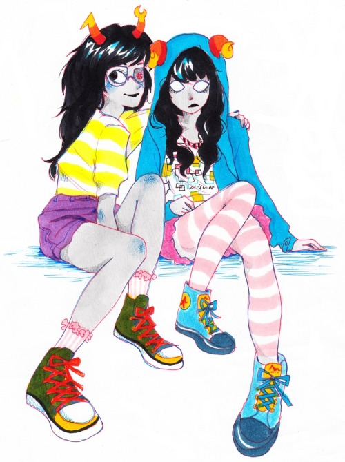 wildparsnip:  i drew Vriska and Aradia for the first time!! heheh! i'm getting the hang of thisIt's not a ship, i just drew them togetherI thought they looked like Korean girls (especially Aradia).. }:) yet again, i got the idea for the clothing from a Kyary picture. that gurl's got some snappy style
