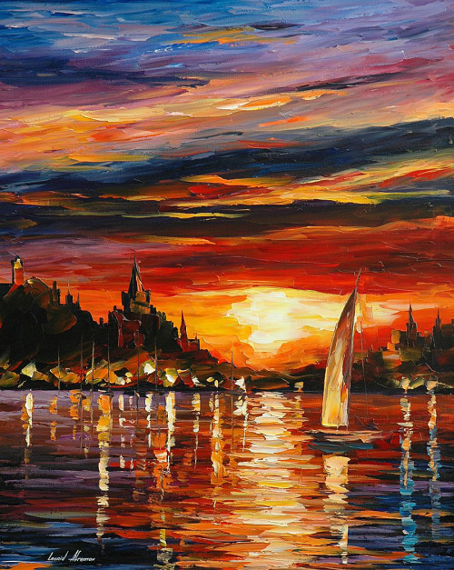 welovepaintings:  Leonid Afremov Castle by the Sea