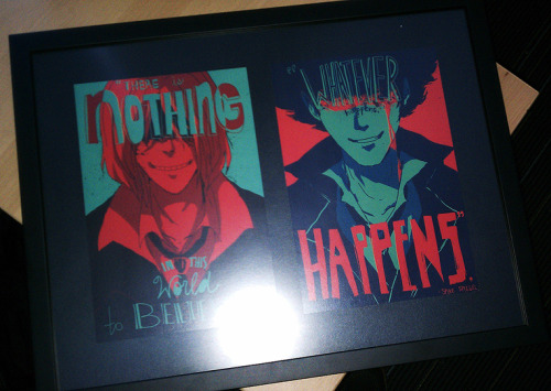 higu bought these prints from my shop for this brother and now they're in a frame! IN A FRAME! thank you so much for sending the picture ;_; this makes me so happy