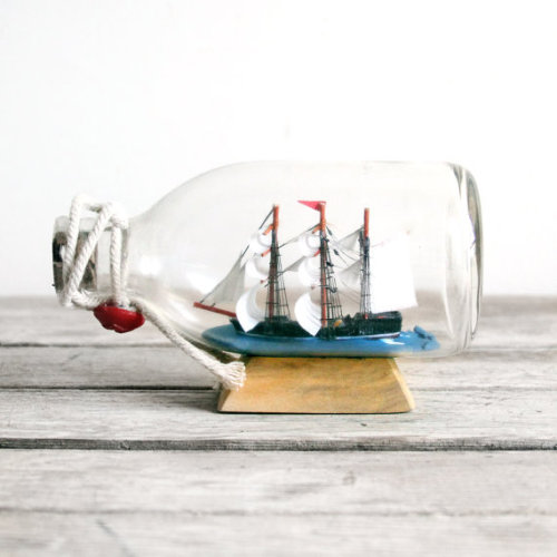Small Vintage Ship in a Bottle Souvenir.