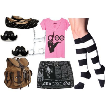 Gleekin' Out by pinksparklesurprise featuring short skirtsGraphic tee, $25John Galliano short skirt, £57American Apparel knee high socks, $10Marais t strap flat, $110Forever21 corduroy backpack, $35Rose gold jewelry, $209Stud earrings, $9.99