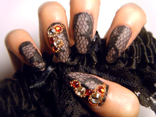 mynailsaredope:    Successss. Matte black lace over Essie's Merino Coal with rhinestones & tiny steel beads.