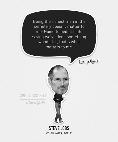startupquote:  Being the richest man in the cemetery doesn't matter to me. Going to bed at  night saying we've done something wonderful, that's what matters to me. - Steve Jobs (Steve Jobs Special Issue #1)