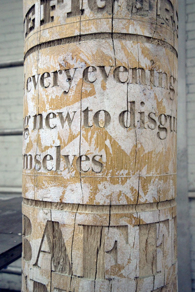 ginjam:  Typographic Trees Gordon Young is an artist focussing on art for public spaces and has produced a number of typographic installations. For a library in Crawley, UK he designed created a 'forest' of oak pillars positioned throughout the library. Each of the 14 solid oak columns reflect different subjects from the gothic to the romantic within the library. Created in collaboration with: Why Not Associates (Typography), Russell Coleman (Implementation).