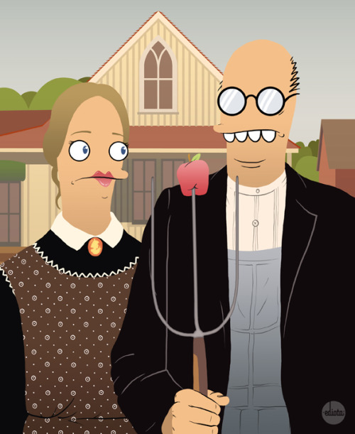 "american ediot a remake of the Grant Wood's ""American Gothic"""