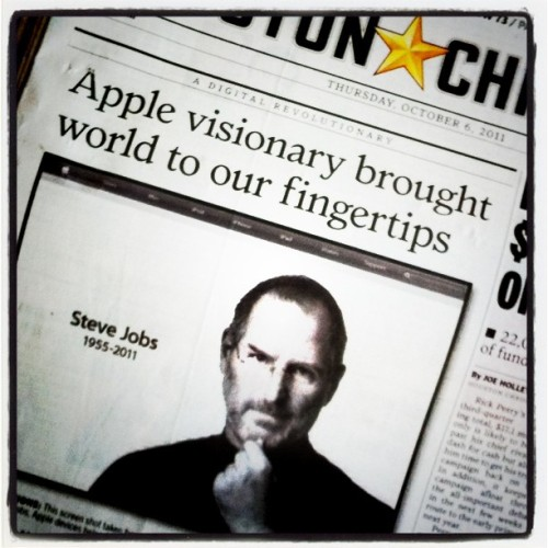 dowhatyoucrave:  Truly sad. #apple #stevejobs #newspaper #Houston #chronicle  (Taken with instagram)