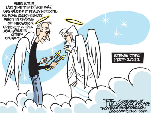 npr:  Steve Jobs arrives in heaven, by editorial cartoonist Dave Fitzsimmons.  LOLOLOLOLOL RIP Steve.