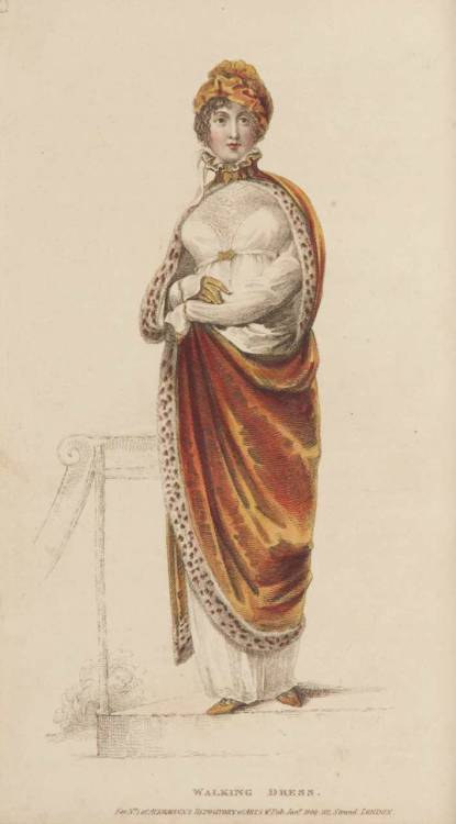 Ackermann's Repository, Walking Dress, January 1809.  What a fabulous cloak!  I love the tight collar and the fur trimming!