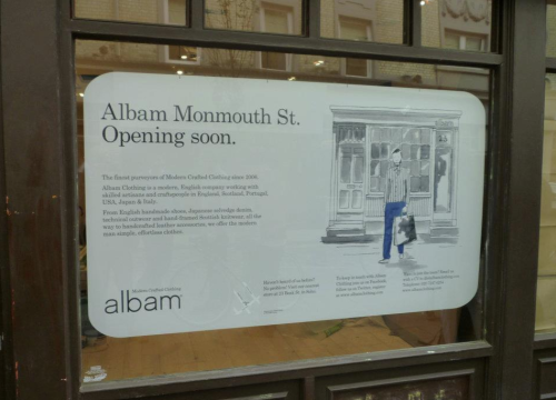 zoebarker:New Albam shop opening on Monmouth Street Covent Garden!!!! WOOOO. I love Monmouth. And I love Albam. Blimey. I just started doing the illustrations for Albam. If you haven