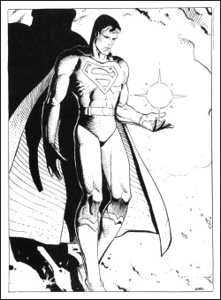 Moebius  theairtightgarage:  Superman, from 1984. [color version here]