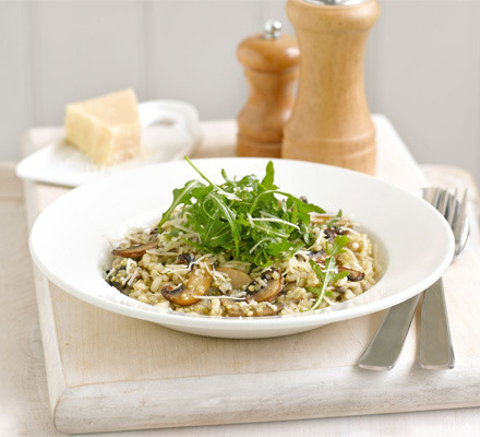 becausefood:  Mushroom and Thyme Risotto Serves 4 1 tbsp olive oil 350g chestnut mushroom, sliced 100g quinoa 1l hot vegetable stock 175g risotto rice handful thyme leaves handful grated parmesan, or vegetarian option 50g bag rocket, to serve Heat the oil in a medium pan, sauté the mushrooms for 2-3 mins, then stir in the quinoa. Keeping the vegetable stock warm in a separate pan on a low heat, add a ladle of the stock and stir until absorbed. Stir in the rice and repeat again with the stock, until all the stock has been used up and the rice and quinoa are tender and cooked. Stir in the thyme leaves, then divide between 4 plates or bowls. Serve topped with grated Parmesan and rocket leaves. Source.