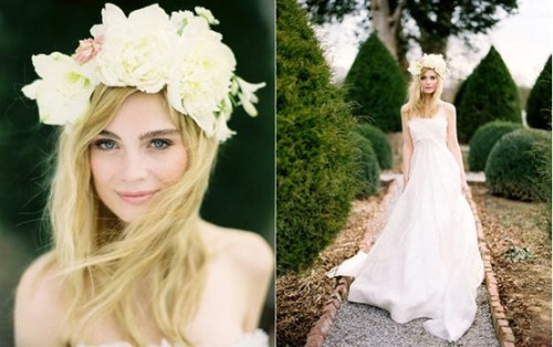 bride2be:  how about a crown of flowers in lieu of a bouquet and veil?