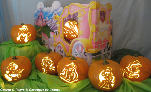 Disney Princess pumpkins! Almost all the girls, except for Mulan, Tiana, Pocahontas, and Rapunzel.