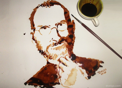 1912pikeplace:  Steve Jobs Tribute Art - Coffee Painting by DirceuVeiga on Flickr.