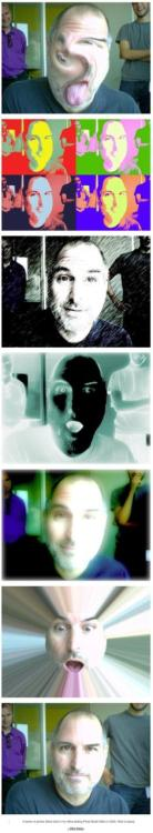 Photos Steve Jobs took while testing Photo Booth filters in 2005. I love seeing this side of him.