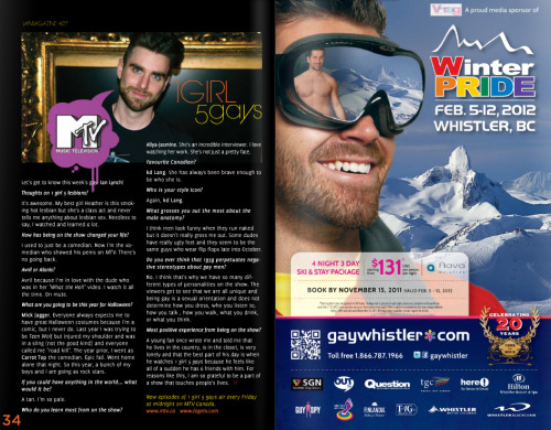 1girl5gays:  Aww! Check out Ian Lynch's interview in this months V-Rag Magazine where he talks Halloween costumes, the male anatomy and 1g5g! Read the online edition (including Ian's piece on page 34) here:http://tinyurl.com/6f7qxlc