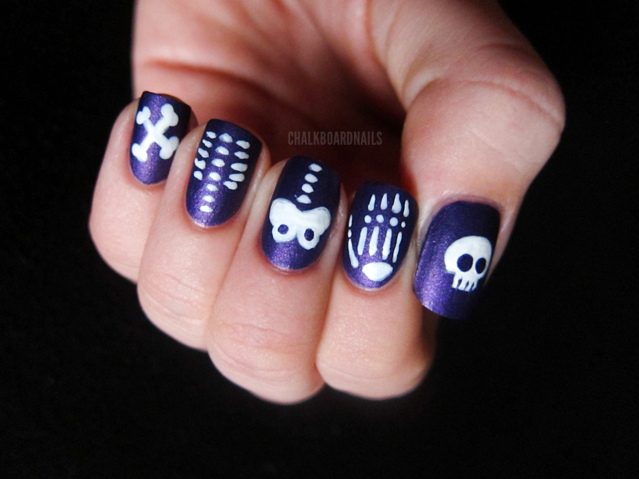 chalkboardnails:  Skeleton Skittle Zoya SavitaChina Glaze White On White