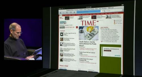 "timemagazine:  In January 2010, the world watched Steve Jobs unveil a product that would change the magazine industry forever. As he showed off his ""magical"" iPad, TIME flashed across Apple's big screen, and we went a little wobbly in the knees. ""One of my proudest career moments was seeing Steve Jobs checking out TIME.com during his very first demo of the iPad,"" says former digital design director Sean Villafranca. ""Yep, I designed that site on a Mac."" We liked how we looked on that tablet screen so much we now work to produce a special iPad version of our issue each week. Jobs just knew it before we did."