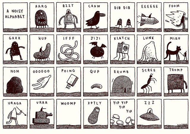 literatureismyutopia:  Noisy Alphabet by tom gauld on Flickr.