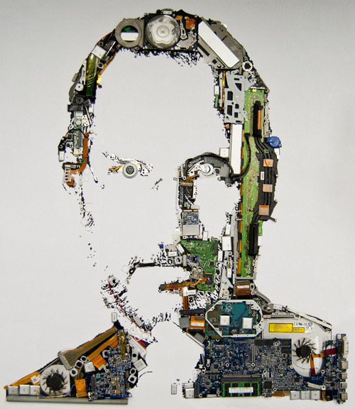 curiositycounts:  Mint Foundry's tribute to Steve Jobs, a portrait made from the parts of a disassembled MacBook Pro