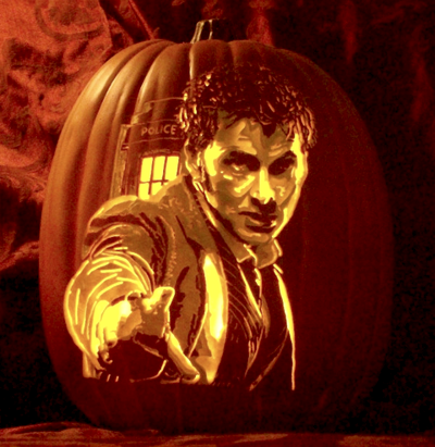 Doctor Who pumpkin! The tenth Doctor, my favorite, David Tennant :)