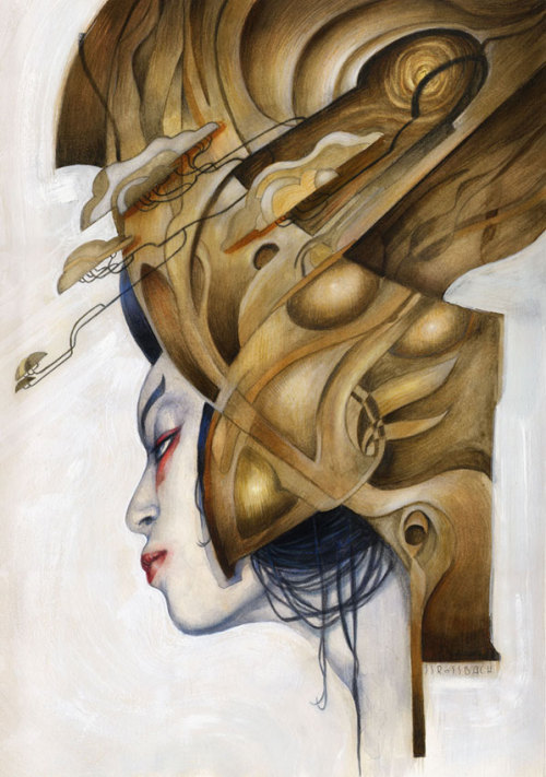 An original watercolor by Jean-Sebastien Rossbach. Created for the Tsunami Project to help Japan.   [link] The artist participated in the Tsunami Project, which raised money to help the Tsunami victims through the auction of original artworks and the subsequent publication of the artists' illustrations in the artbook: Magnitude 9.