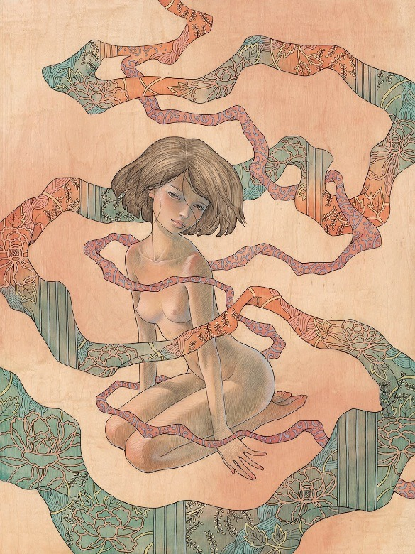 "supersonicelectronic:  New work by Audrey Kawasaki. (For the group show, ""In the Wake of Dreams"" at Thinkspace Gallery in Culver City, CA opening this Saturday, October 8th."