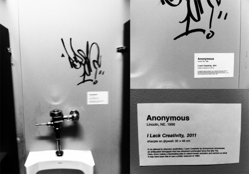 thedailywhat:  Bathroom Graffiti Critique of the Day: A random tag in the bathroom of an art co-op elicits precisely the sort of response you'd expect. (Embiggen.) [reddit.]