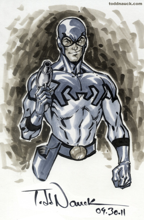 Blue Beetle. Copic sketch marker and Pentel pocket brush pen.