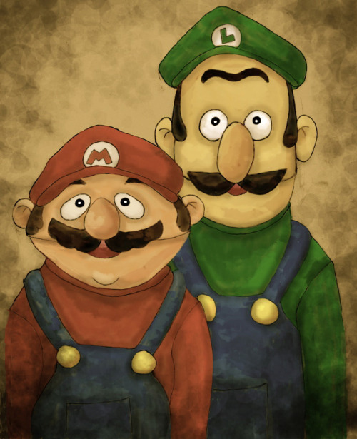 it8bit:  Bert and Ernie (Mario & Luigi) - by Amateuritis
