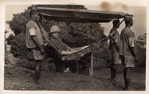 fyeahafrica:  aphoticoccurrences:  British Army Officer carried in Hammock Sierra Leone, 1920  For those of you that have a hard time understanding the dynamics of colonialism.