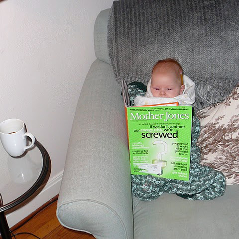 "We believe this, via a subscriber, is our youngest reader. (And yes, one of the headlines on the cover is actually ""Poop Power!"" It was for an interview with MythBusters's Jamie Hyneman about renewable energy.)"