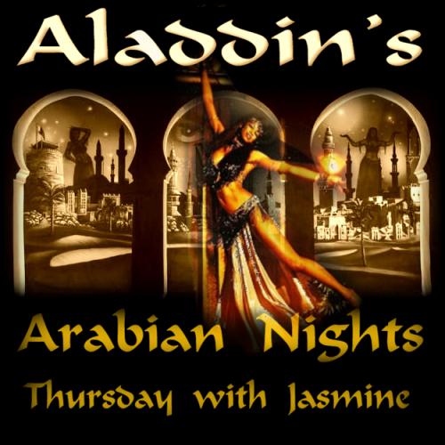 Arabian Nights Thursday with Jasmine at Aladdin's!  Jasmine  comes to Aladdin's from Dallas with the spectacular and striking  performance she's showcased at AlAmir, Sinbad's Palace, Stratos &  Samar! Her dancing style is as timeless as Shahrazade and her touch with  the audience is beautiful! • Jasmine's Arabian Nights Show & Sword Dance (x3) • Arabian Nights Hookah 10% off • Complimentary Baklava with every hookah order flown in directly from the famous Shatila Bakery • 1/2 price O2 shots at the only BreatheO2™Bar in Houston • 1/2 price Red Genie  • New kicka$$ sound system • Uniquely Aladdin's Fresh Fruit Hookahs ($2 off if you click here 					http://member.merchantcircle.com/AladdinsHookahLounge) • NEW: Al's Virgin Mojito! No cover charge, just order something from the menu and enjoy your evening of music, dance and hookah!