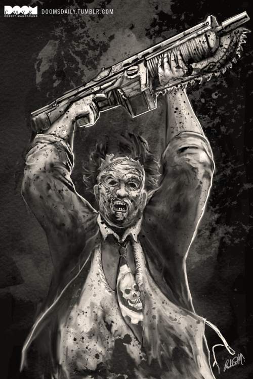 doomsdaily:  Leatherface x Gears of War by Robert Mangaoang AKA Doom CMYK. A speed painting video of this will be up soon. Be sure to comeback and check it out.