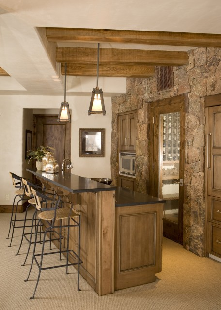 Small but wonderful kitchen with built-ins and a stone wall (via  eclectic - family room - other metros - by Katy Allen, Nella Designs)