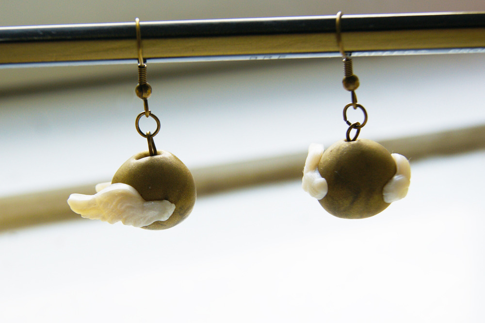 abitfey:  Snitch Earrings now available in my shop!  http://www.etsy.com/people/CraftyTeapot