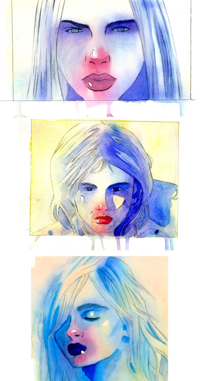 ten-diadems:  In Illustration Media we had to water color portraits of someone—anyone, so long as we had photographic reference—and I figured Andrej Pejic was a good bet. He has such a lovely face, and all the fashion photographs he's in have good shadows, because bless fashion.SO YEAH.I painted his face.A lot.