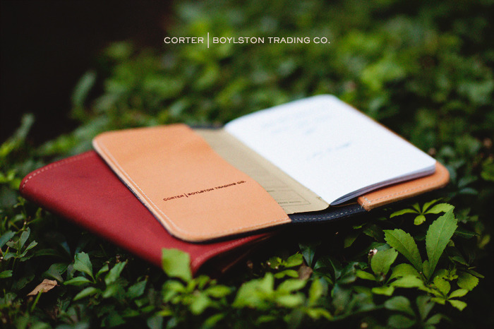 Corter for Boylston Trading Co.  Leather Cover for Field Notes Brand notebooks. Oil tanned shell with a natural vegetable tanned interior. Tanned, oiled and buffed by hand.