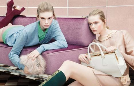 I love Prada's Fall 2011 campaign, generally pastels are not seen in the fall, but I love it!  I think that blush and beige are the perfect colors for the fall season!