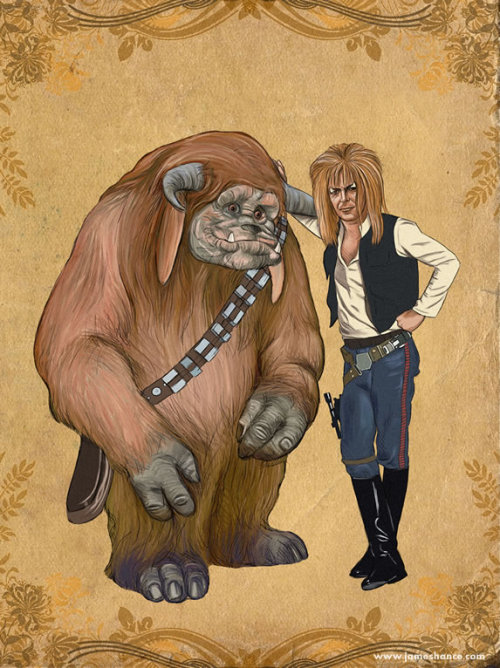 ianbrooks:  Smugglers Of The Labyrinth by James Hance Prints available for $10, and T-shirts are on RedBubble. Artist: Tumblr / Website / Facebook / Twitter  (source: jameshance, via: tiefighters)  Combining two of my childhood (and current-day) loves? Yes, please.