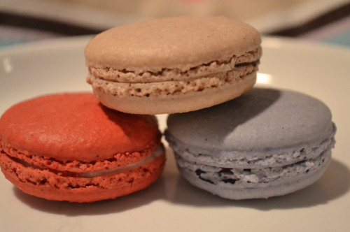 5eaglass:  red velvet, peanut butter, and nutella macarons. BEST macarons i've EVER had! from the macaron parlour<3
